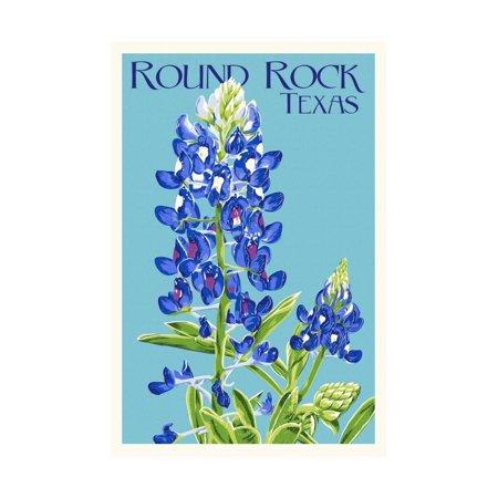 Round Rock, Texas - Bluebonnet - Letterpress Print Wall Art By Lantern Press