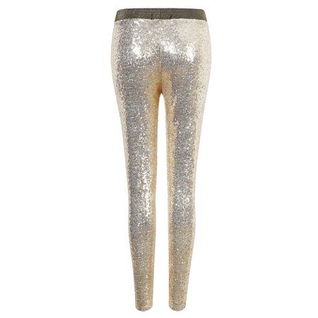 8942e44c444ae Women Shiny Sequin Stretch Tights Skinny Legging Pant Gold S - image 1 of 7  ...