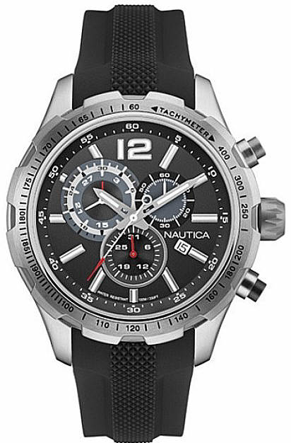 Men's Nautica Chronograph Black Silicone Band Watch NAD15512G by Nautica