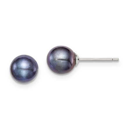 925 Sterling Silver 8mm Black Freshwater Cultured Round Pearl Stud Earrings Ball Button Gifts For Women For -