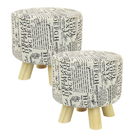Dl Furniture 2 Piece Round Ottoman Foot Stool 4 Leg Stands Shape Linen Fabric Pattern Cover Com