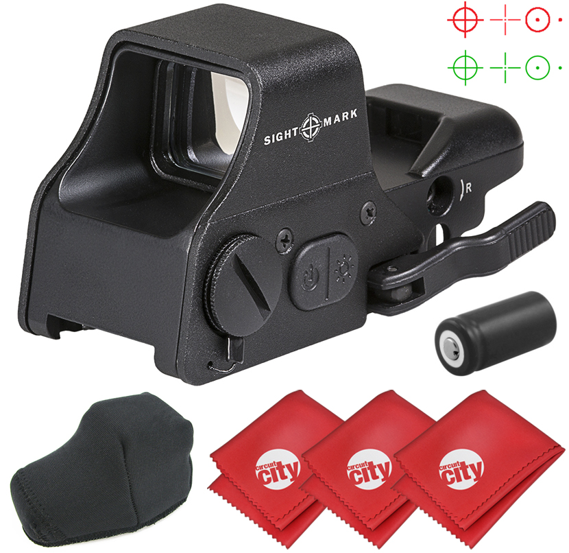 Sightmark Ultra Shot Plus Reflex Red/Green Dot Rifle Sight with 3 Microfiber Cleaning Cloths (SM26008)