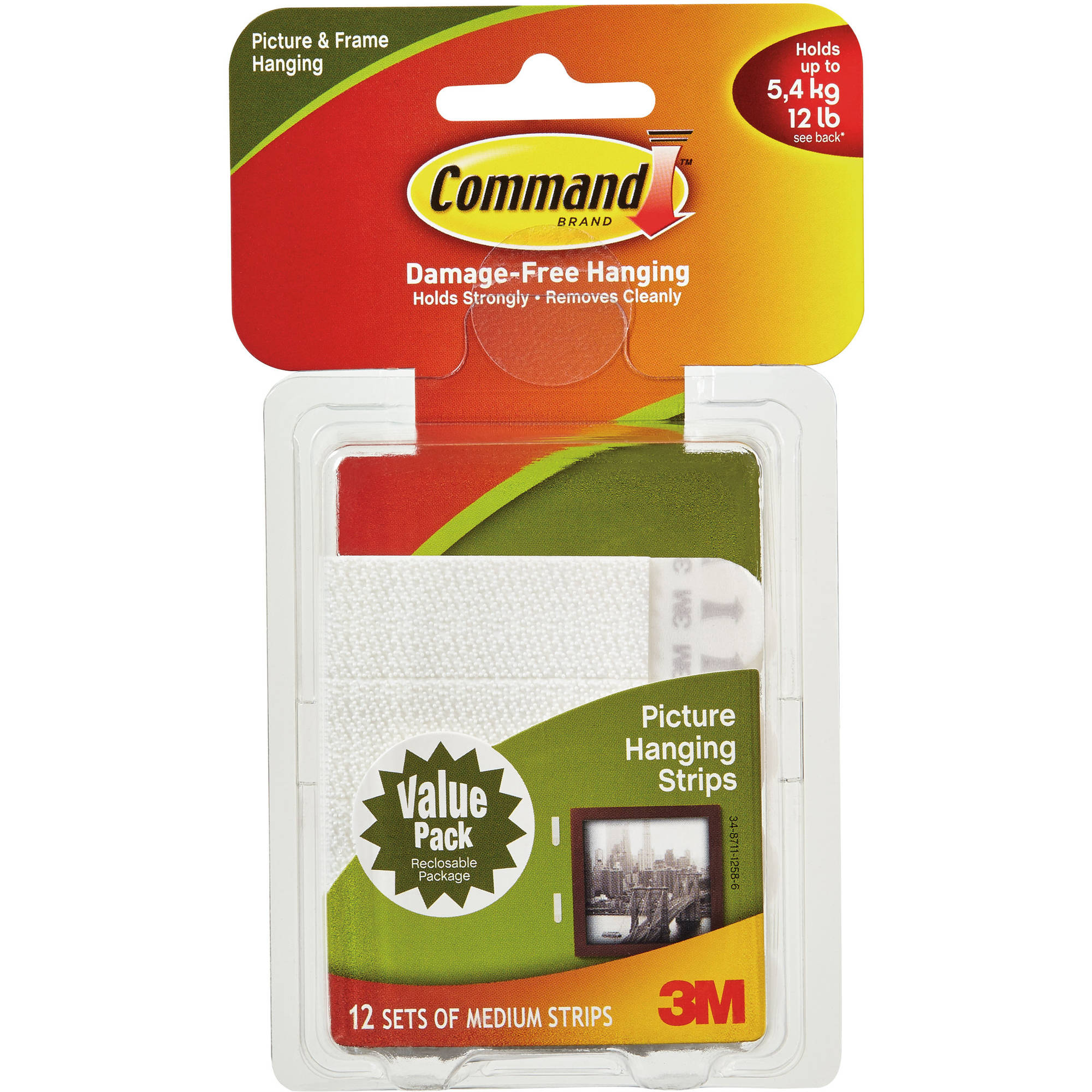 Command Medium Picture Hanging Strips, White, 12 Sets of Strips, 17204-12PK