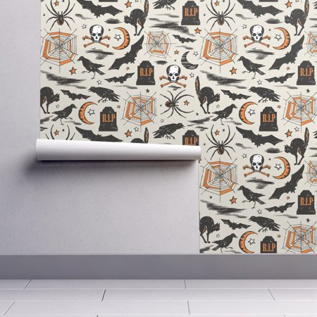 Wallpaper Roll or Sample: Halloween Vintage Retro Bat Skull Black Vintage](Halloween Skull Wallpaper)
