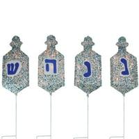 Set of 4 Lighted Dreidel Hanukkah Pathway Marker Outdoor Decorations