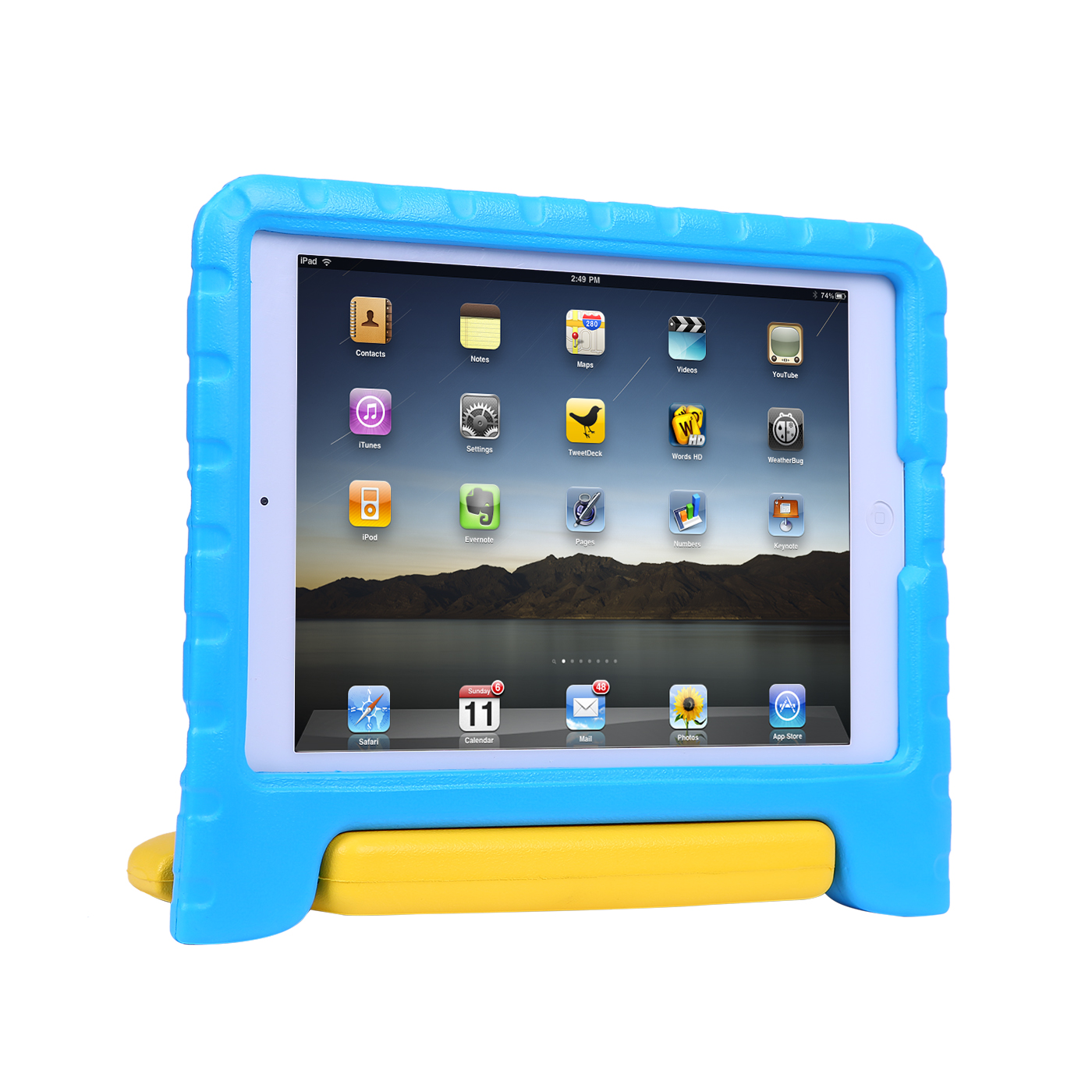 HDE iPad Air 2 Case for Kids with Handle Protective Shock Proof Bumper Cover Stand for Apple iPad Air 2 (Blue Yellow)
