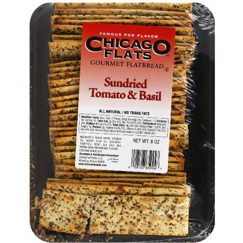 Chicago Flats Sundried Tomato & Basil Gourmet Flatbread, 8 oz, (Pack of 10)