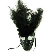 Royal Onyx Feathered Mardi Gras Costume Mask w/Silver Eyebrows One Size