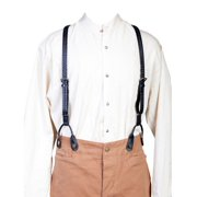 540775-BLK-ONE Mens Wah Maker Leather Braided Suspender - Black, One Size