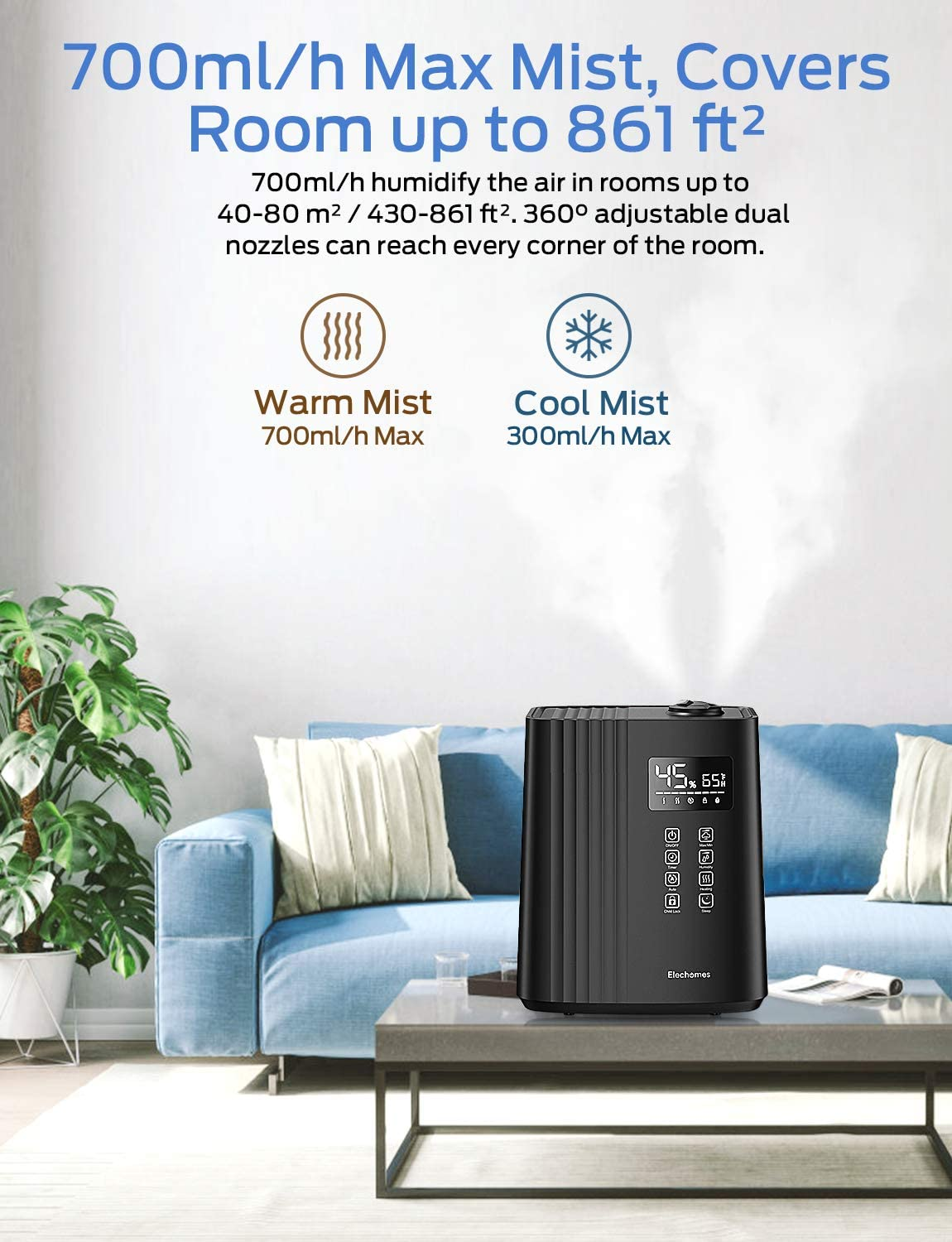 Elechomes SH8830 Warm and Cool Mist Humidifiers 6.5 Liter Top Fill Humidifier