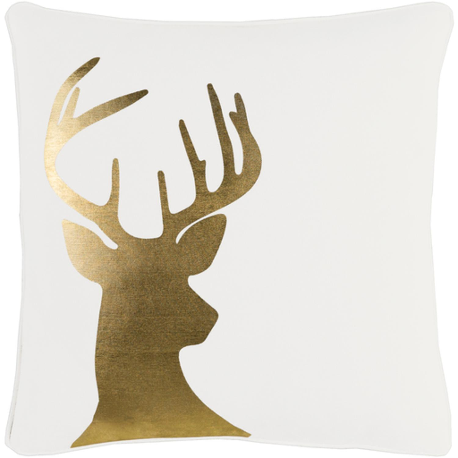 """18"""" Snow White and Rich Gold Decorative Country Rustic Holiday Throw Pillow"""