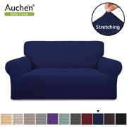 "Auchen Slipcovers for Couches and Loveseats, Navy Purefit Super Stretch Chair Loveseat Sofa Couch Slipcover Fit Sofa Width 55"" to 69"", Non Slip Soft with Small Checks ( Loveseat, Navy )"