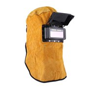 Cowhide Leather Welder Hood Welding Helmet Protective Gear Mask Work Cap,Solar Auto Darkening Filter Lens