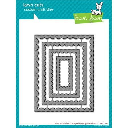 Lawn Cuts Custom Craft Die-Reverse Stitch Scallop Rectangle (12 Die Cut Window)