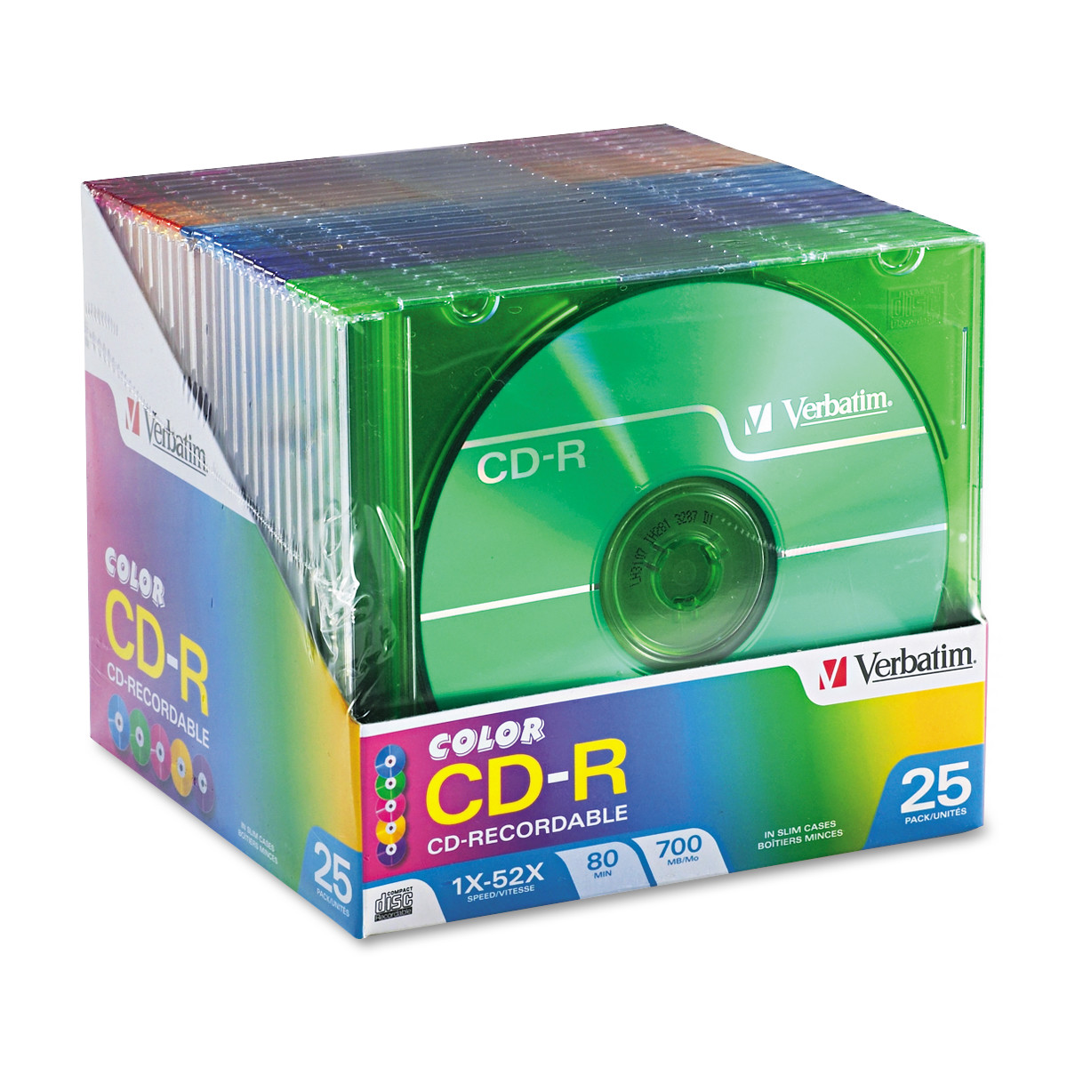Verbatim CD-R Discs, 700MB/80min, 52x, Slim Jewel Cases, Assorted Colors, 25/Pack