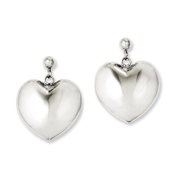 Lex & Lu Chisel Stainless Steel Polished Puff Heart Post Dangle Earrings 32mm Dangling Heart Post Earrings