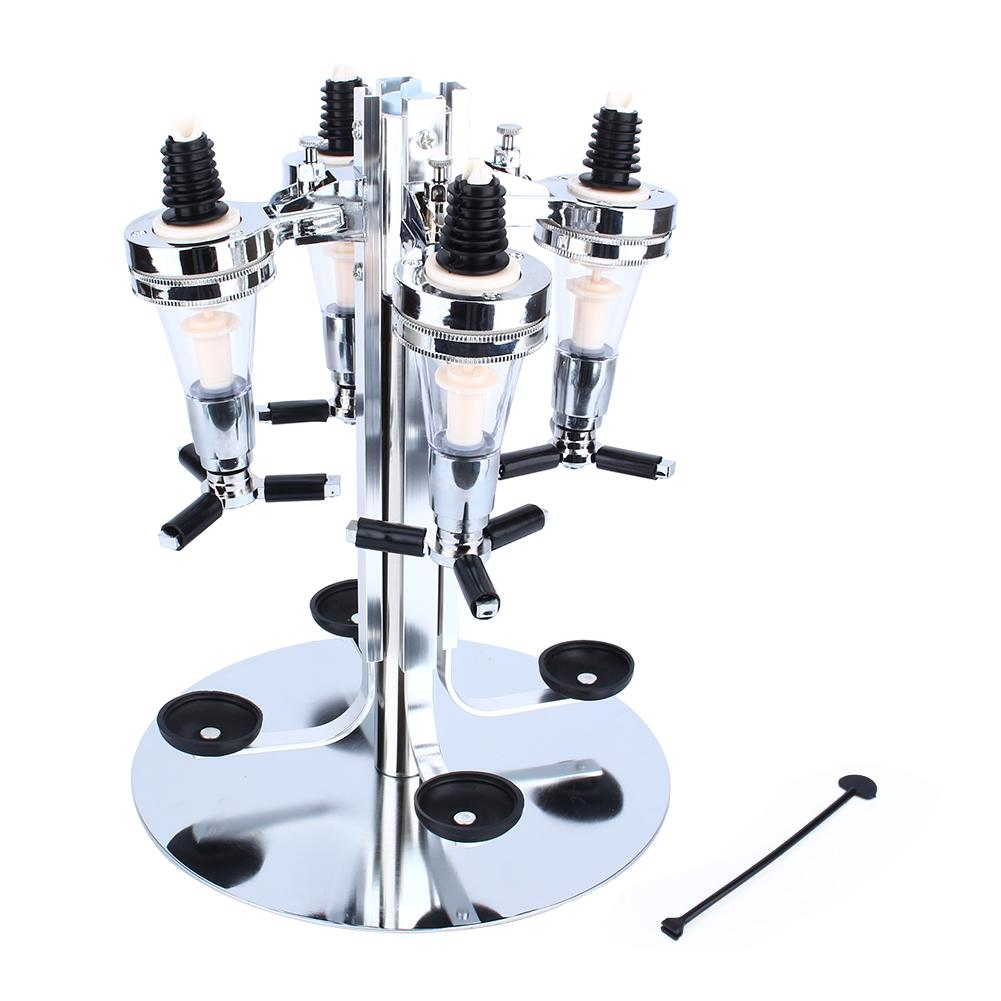 4 Bottle Rotated Mounted Holder Wine Liquor Juice Cocktail Dispenser Alcohol Drink Shot Cabinet for Bar Party Tools