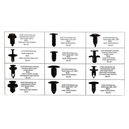240 Pcs 12 Type Plastic Car Rivets Push Pin Weatherstrip Moulding Clip Fastener - image 3 de 5