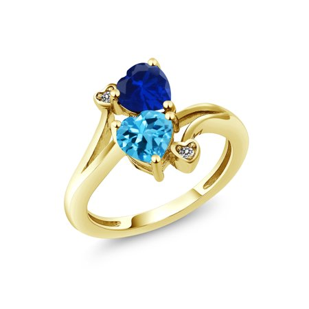 Gem Stone King - 1 78 Ct Swiss Blue Topaz Blue Simulated Sapphire 10K  Yellow Gold Ring - Walmart com