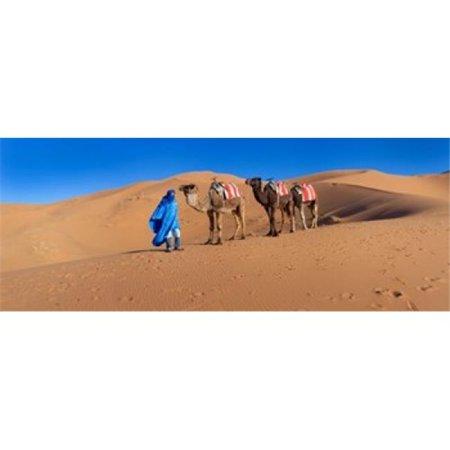 Tuareg Man Leading Camel Train in Desert Erg Chebbi Dunes Sahara Desert Morocco Poster Print, 30 x 12 - image 1 de 1