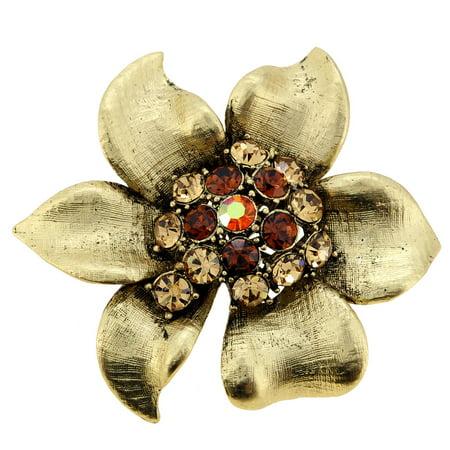 Golden Vintage Brooch - Vintage Style Crystal Golden Flower Pin Brooch