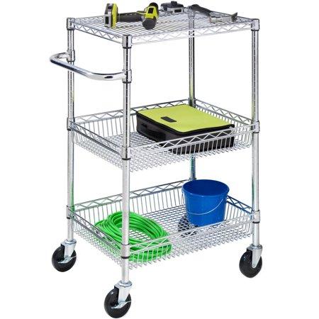 Honey Can Do 3 Shelf Urban Utility Rolling Cart  Chrome