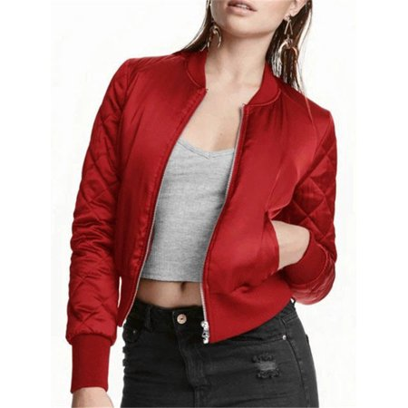 Women's Classic Quilted Crop Padded Bomber Jacket Zipper Pockets