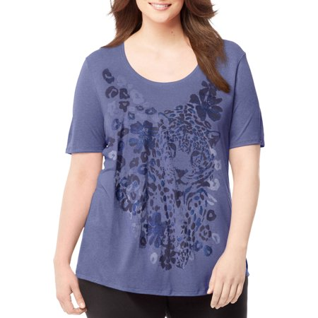 Just My Size Women's Plus Printed Scoopneck T-shirt