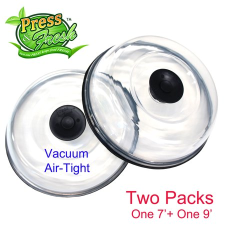 (Press n Fresh Stackable Vacuum Air-tight Food Sealer Container Plate Platter Lid Cover Topper Dome (Black, 9 & 7 inches))