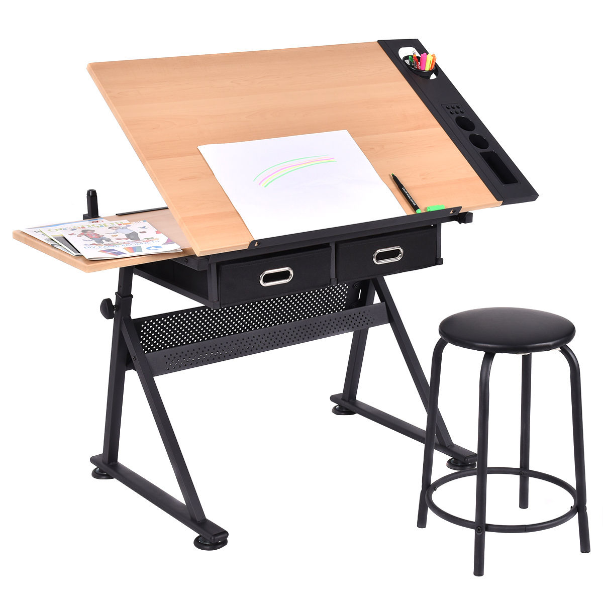 Costway Adjule Drafting Table Art Craft Drawing Desk Hobby W Stool And Drawers Com