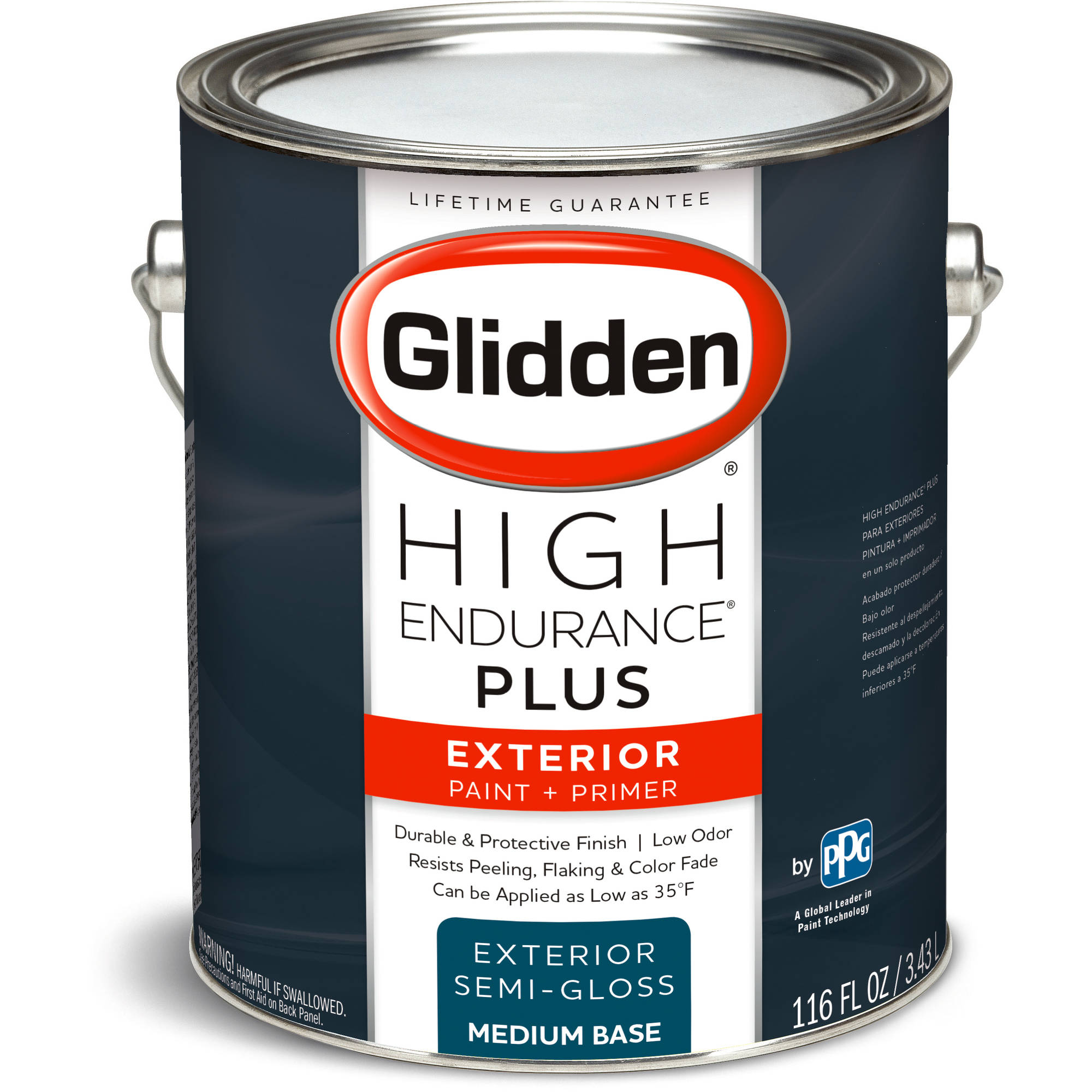 Glidden High Endurance Plus, Exterior Paint and Primer, Semi-Gloss Finish, Medium Base, 1 Gallon