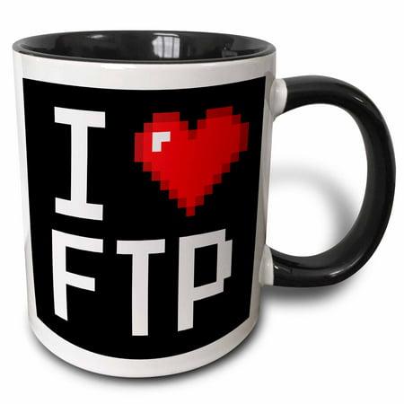 3dRose Geeky Old School Pixelated Pixels 8-Bit I Heart I Love FTP - Two Tone Black Mug, (Pixelated Heart)