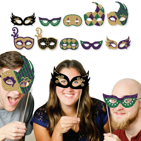 Mardi Gras Masks & Glasses - Paper Card Stock Masquerade Party Photo Booth Props Kit - 10 Count - Masquerade Party City