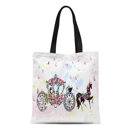 KDAGR Canvas Tote Bag Cinderella Vintage Floral Carriage Cart Birthday Horse Wedding Chariot Reusable Shoulder Grocery Shopping Bags Handbag