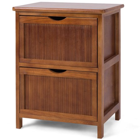 Two Drawer Bed Side Cabinet - Costway 2 Drawers Nightstand Contemporary Vintage Bedside Table Solid Wood End table