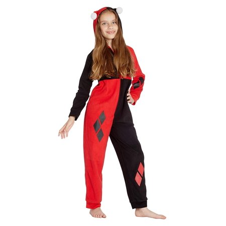 Harley Quinn Costume Holiday Union Suit Onesie, Red, 4/5](Harely Quinn)