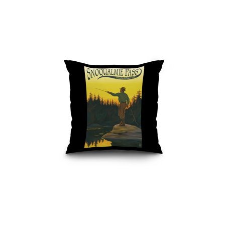 Snoqualmie Pass  Washington   Fisherman Casting    Lp Original Poster  16X16 Spun Polyester Pillow  Black Border