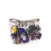 TAZZA WOMEN'S SILVER SQUIRREL AND PURPLE CRYSTAL FLOWER HINGED  BRACELETS