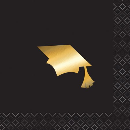 Foil Cap Graduation Paper Cocktail Napkins, 5 in, Black & Gold, 16ct - Black And Gold Graduation