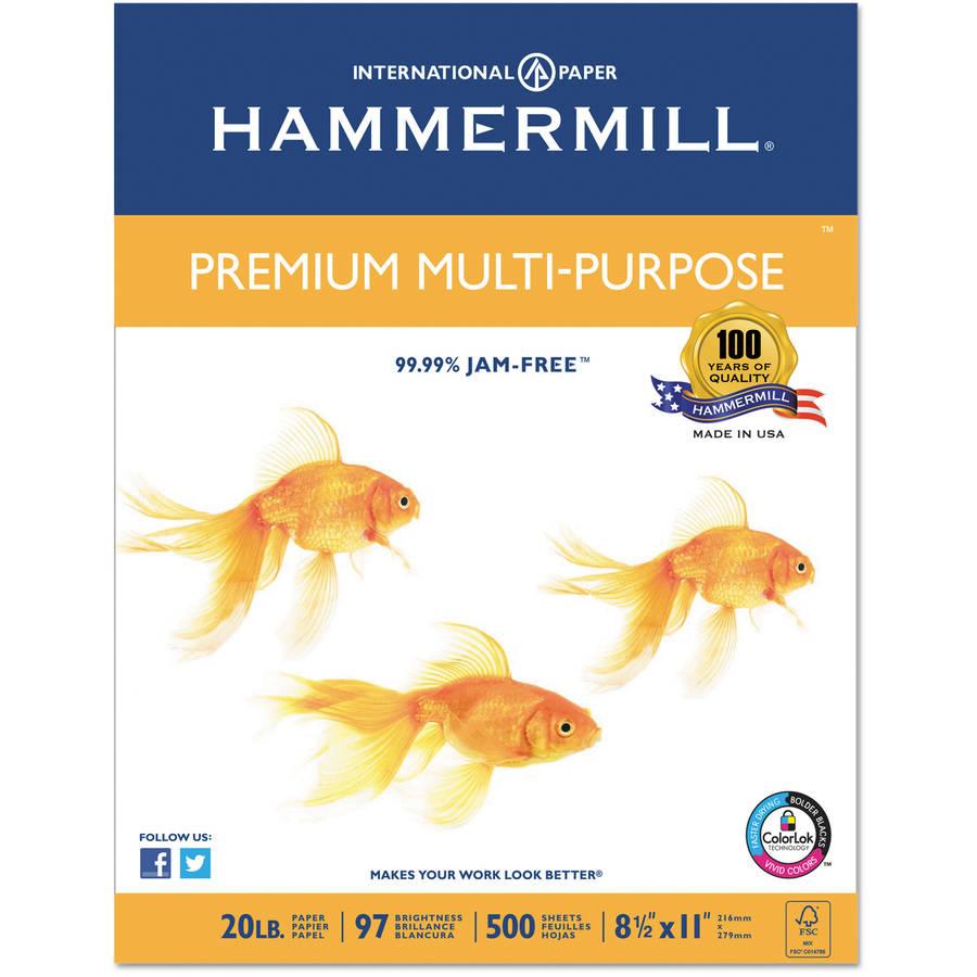 "Hammermill Premium 20-lb Multipurpose Paper, 8-1/2"" x 11"", White, 5000 Sheets"