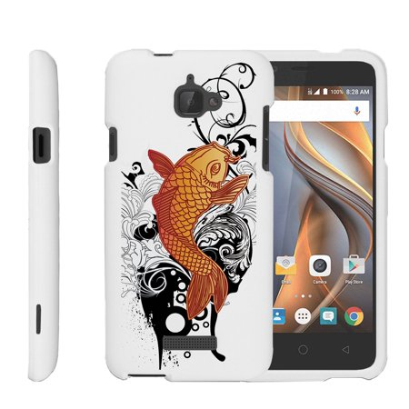 CoolPad Catalyst, [SNAP SHELL][White] 2 Piece Snap On Rubberized Hard White Plastic Cell Phone Case with Exclusive Art -  Koi - Fish Mobile