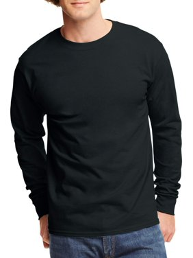 Hanes Men's and Big Men's Tagless Long Sleeve Tee, Up To Size 3XL