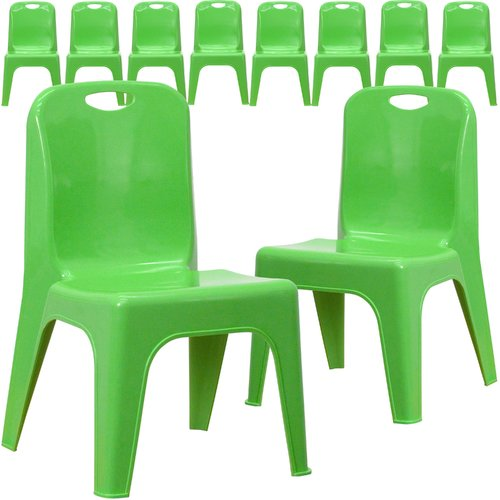 Flash Furniture 10 Pk. Green Plastic Stackable School Chair with Carrying Handle and 11'' Seat Height