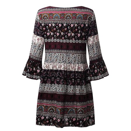 Women Floral Print Three Quarter Sleeve Boho Dress Ladies Evening Party Dress ()