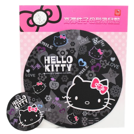 Hello Kitty Apples, Bows, and Flowers Black Colored (Flowers Pad)