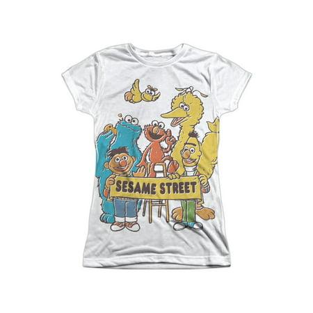 Sesame Street Classic TV Show Cast Block Party Juniors Front Print T-Shirt - Halloween 6 Cast And Crew