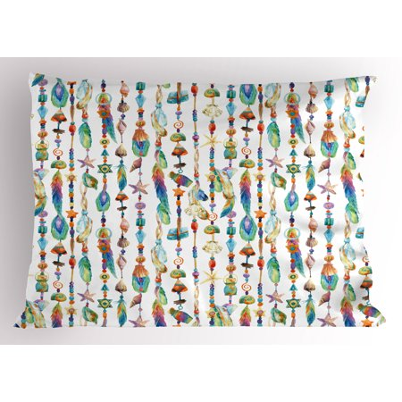 Shells Standard Sham (Feather Pillow Sham Watercolor Style Figures with Sea Shells Nautical Boho Style Chains Pendant Pattern, Decorative Standard Queen Size Printed Pillowcase, 30 X 20 Inches, Multicolor, by Ambesonne)
