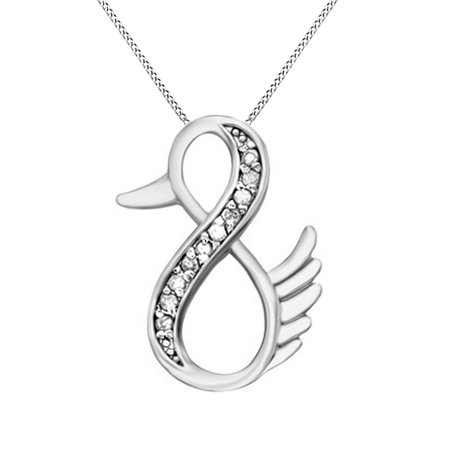 Natural Diamond Duck Infinity Pendant Necklace 14k White Gold Over Sterling Silver (1/10 Ct) (Ducks Logo Pendant)