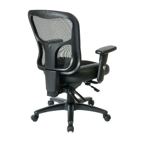 Office Star Breathable Progrid Back With Leather And Mesh Seat Adjule Black Managers Chair Nylon Base