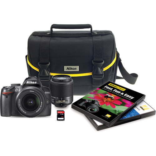 Nikon Black D3000 Digital SLR Camera with 10.2 Megapixels and 55-200mm and 18-55mm Lenses Included